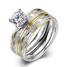 Мода титана стали Двойное кольцо круглый циркон палец кольцо позолоченные дизайн для женщин