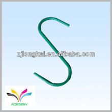 De alta calidad en forma de s polvo verde funcional recubierto de alambre de metal colgando ganchos