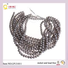 9-10mm Papa forma perder cuerdas perla gris calidad perlas