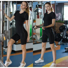 Frauen Fitness Kleidung Sportlich Sport Shirt Yoga Lauf Kurzarm