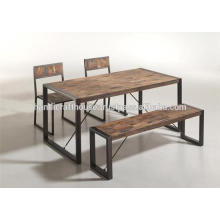 Pies industriales de metal y madera de mango Mesa de comedor superior