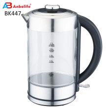 Hervidor de té de vidrio de ebullición rápida (1,7 L) Hervidor de té inalámbrico con acabado de acero inoxidable Hervidor de agua caliente Hervidor de té de vidrio