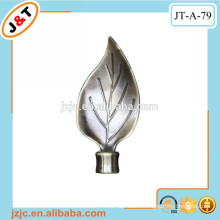 iron/metal twisted curtain rod with decorative leaf finial