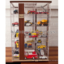 Kids Playthings Retail Store Custom Table Top Wood Acrylic Minifigure Comic Toy Car Display Case