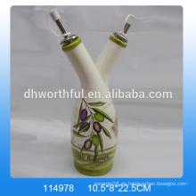 Botellas de aceite de oliva decorativas al por mayor, dispensador de aceite de cerámica
