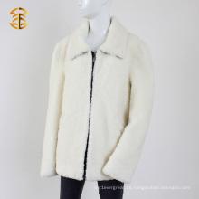 Piel de cordero blanco real de invierno caliente con abrigo de piel gruesa chaqueta corta
