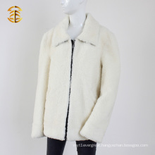 Warm Winter Real White Lamb Fur with Thick Short Jacket Fur Coat
