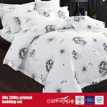 40Х 200TC напечатано черный белый оптом комплект белья для гостиницы/домашнего использования