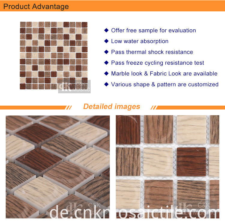 3D Square Teak Brown Printing Glass Mosaics (2)