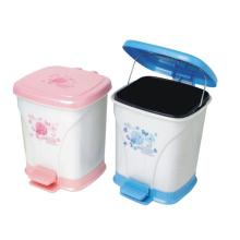 Square Plastic Foot Pedal Garbage Bin (YW0086)
