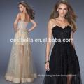 Sexy Black marfim champanhe Lace Long Evening Dress