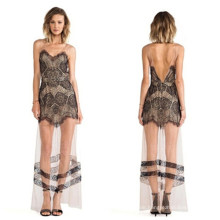 2015 Frauen Elegante Transparent Backless Sexy Spitze Maxi Langes Kleid