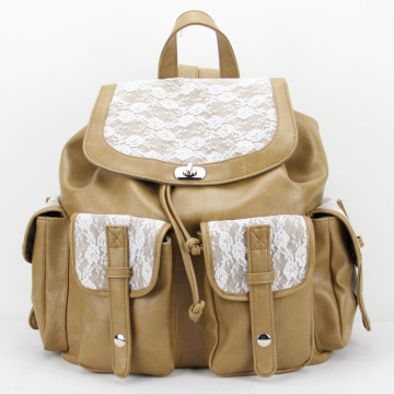 Escola de Colégio Vintage PU Leather Lace Backpack