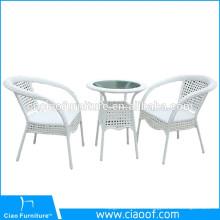 Ensemble de table hexagonale de 2 places utilisé restaurant Cafe Poly rotin mobilier