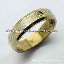 Placa de ouro e desenhos de anel de ouro gravado para homens
