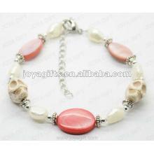 Moda 2012 Joya cráneo blanco con perlas Anklet Shell