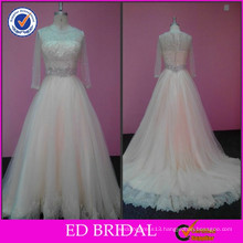 2017 ED Bridal Customized Crystal Beaded Waist Champagne Colored Wedding Dresses with Sleeves