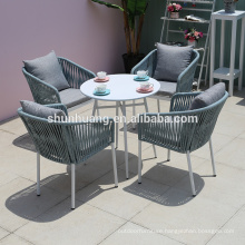 Popular outdoor garden webbing rope furniture  garden table set rope chairs with cushion small round tea table