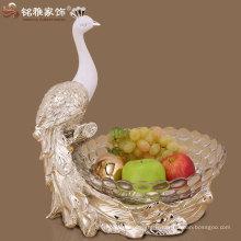 Figurine de paon respectueuse de l'environnement avec bac à fruits en verre, figurine en résine, bol en verre, bac à fruits