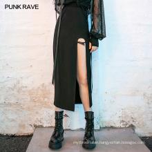 PUNK RAVE spring girls sexypunk series vintage party club black women mesh asymmetrical midi length skirt