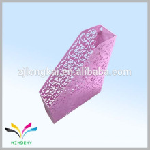 China zhejiang fábrica rosa de metal flor montado en pared titular de archivos para guardar la oficina habitación