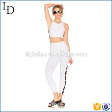 Faixa larga empilhou / yoga branco calças yoga desgaste da aptidão para senhoras