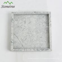 Plateau de vanité en marbre blanc 100% pierre naturelle Plateau en pierre carrée