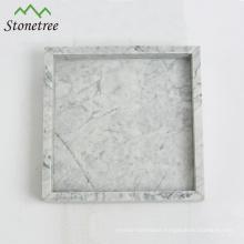 100% Natural Stone White Marble Vanity Tray Square Stone Tray