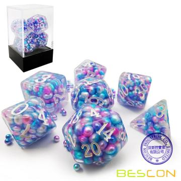 Bescon Peacock Pearl Polyhedral Dice Set, Pearl Poly RPG Dice set of 7