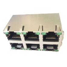 RJ45 2X3 PORT MIT LED EMI 8P8C