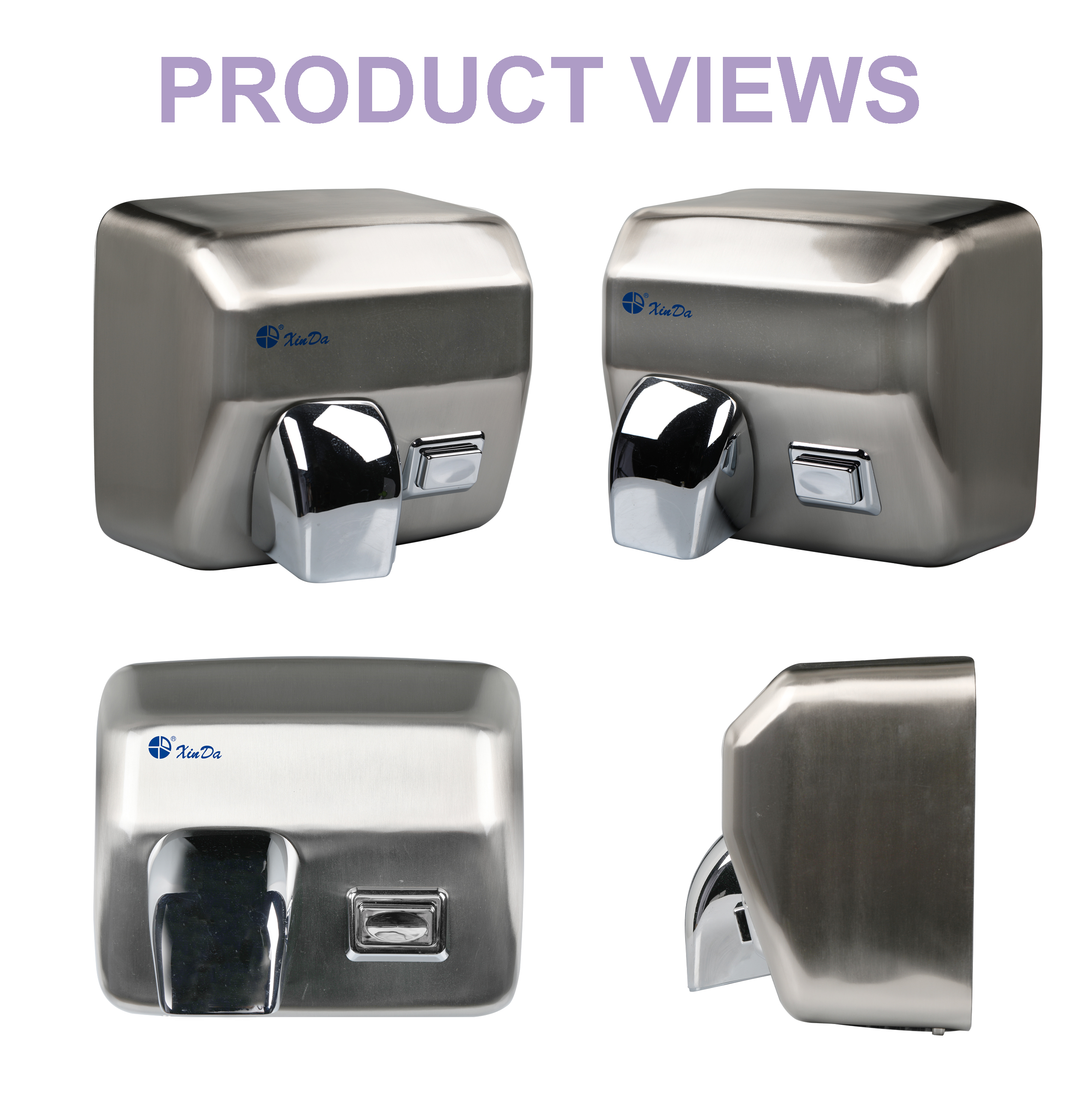 Stainless steel push button hand dryer