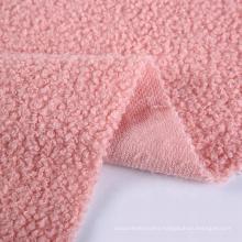 New textiles pink thick jacket flannels fabric changshu baoyujia fur teddy bear fleece fabric for clothing