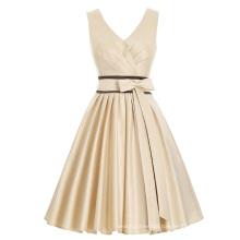 Kate Kasin Sleeveless V-Neck Bridal Satin Short Ball Prom Party Dress KK000209-1