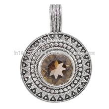 Beautiful Smoky Quartz Gemstone & 925 Sterling Silver Vintage Designer Pendant Jewelry