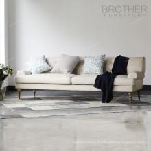 Frère meubles en bois jambe canapé trois places tissu de tapisserie d'ameublement