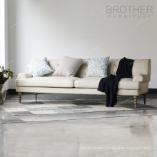 Brother furniture wooden leg three-seats upholstery fabric office sofa