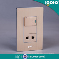 American Type Brushed-Aluminum Electrical Universal 1 Gang Wall Switch and Socket