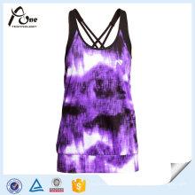 Kundenspezifische Damen Sublimierte Laufen Unterhemd mit integriertem BH