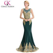 Grace Karin Hot Sale Sleeveless Elegant Golden Appliques Ball Gown Dark Green Evening Dress 2016 GK000026-5