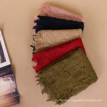 Premium cotton fabric hot arab muslim scarf hijab fashion lady soild color lace and stone hijab scarf