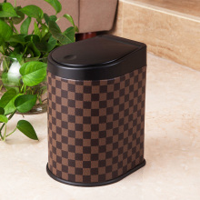 Grid Pattern Brown Color Press Dust Bin (H-3LH)