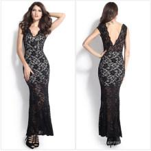 Fashion Maxi Long Evening Black Lace Bride Dress (50140)