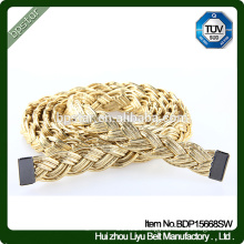 PU Women Belts without Holes Cintos Fashion for Lady Dress Skinny Straps Gold Webbing Braided