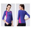 Frauen Fitness zweifarbige 92% Nylon 8% Spandex Sportwear Yoga Shirt