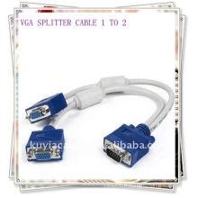 Moniteur de haute qualité 1 PC à 2 VGA SVGA Adaptateur de câble Y Splitter pour ordinateur