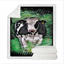 Super Soft Throws and Blanket Bedding Set for Home with 3D Digital Printing Cow in The Farm