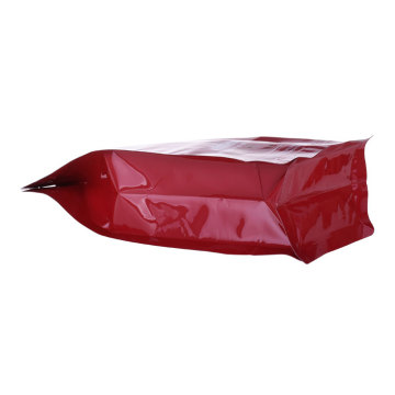 Pocket Ziplock Bags Box Bottom Pouches Kunststoff Rote Farbe Kaffeebeutel