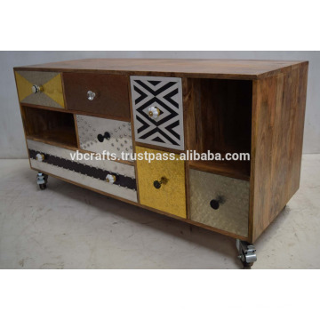 Fancy Colorful metallic drawer Indian Cabinet