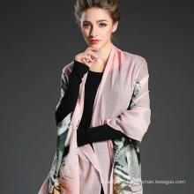 Mme Long Wool Tiger Pattern Impression numérique Foulard rose