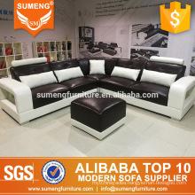 top quality royal living room furniture design sectional corner leather sofa set